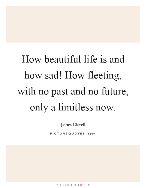 How beautiful life is and how sad! How fleeting, with no past and no future, only a limitless now Picture Quote #1