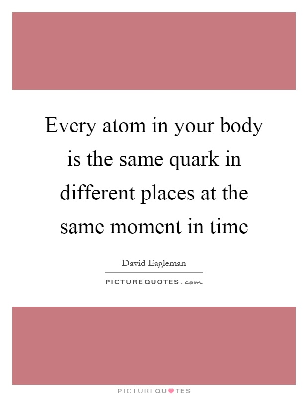 Every atom in your body is the same quark in different places at the same moment in time Picture Quote #1