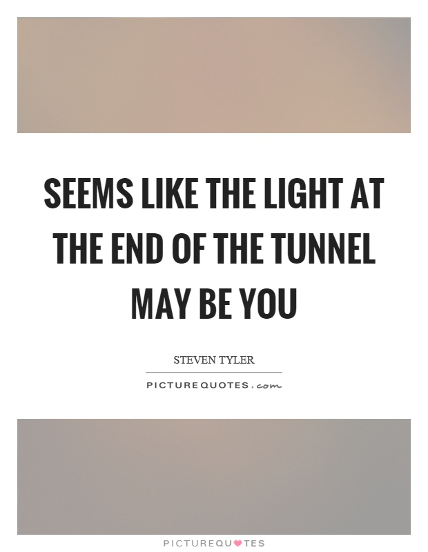 Seems like the light at the end of the tunnel may be you Picture Quote #1