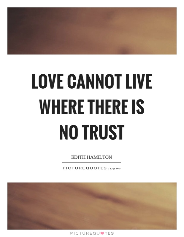 Love cannot live where there is no trust Picture Quote #1
