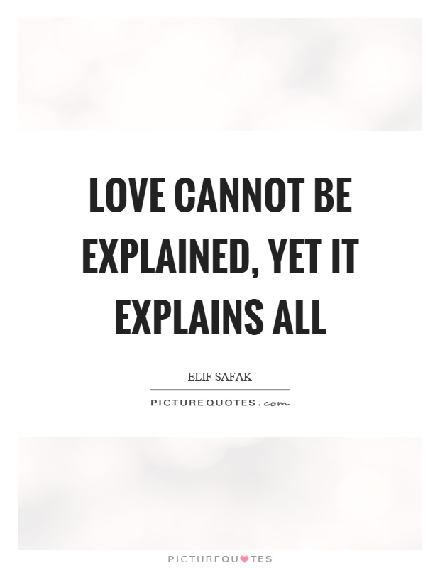 Love cannot be explained, yet it explains all Picture Quote #1