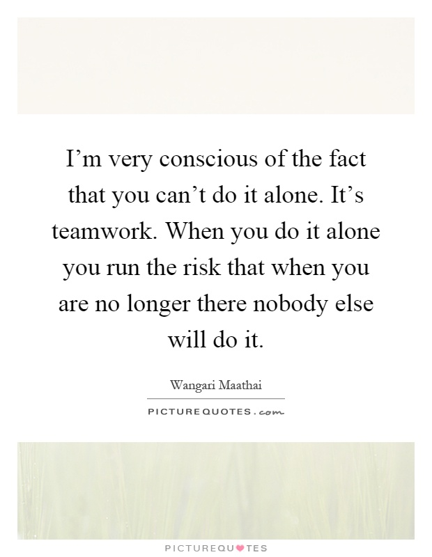 I'm very conscious of the fact that you can't do it alone. It's teamwork. When you do it alone you run the risk that when you are no longer there nobody else will do it Picture Quote #1