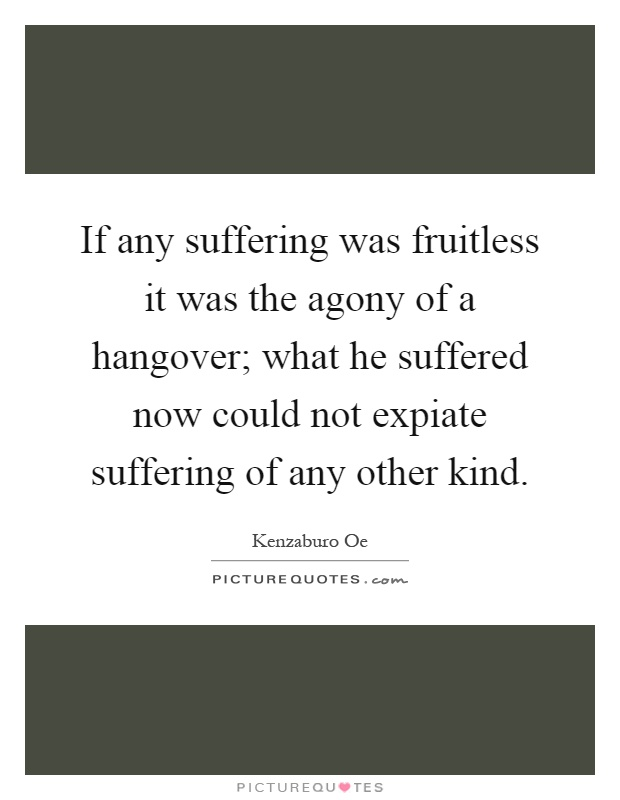 If any suffering was fruitless it was the agony of a hangover; what he suffered now could not expiate suffering of any other kind Picture Quote #1