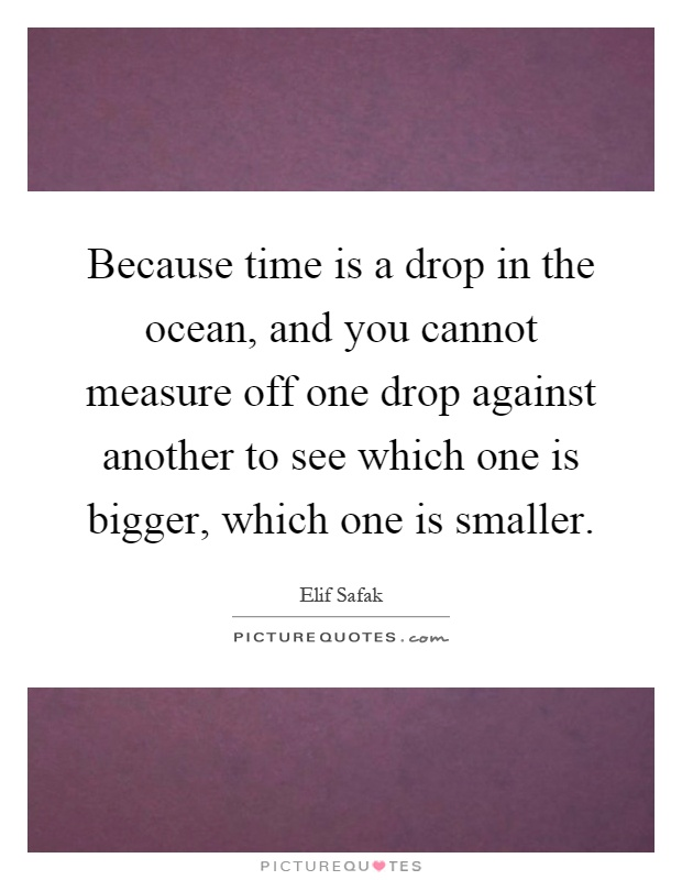 Because time is a drop in the ocean, and you cannot measure off one drop against another to see which one is bigger, which one is smaller Picture Quote #1