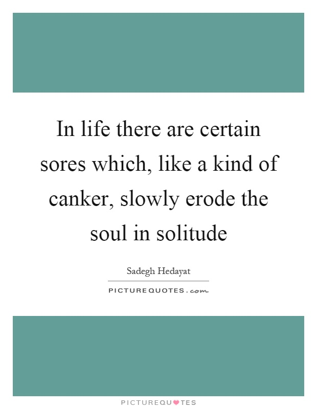 In life there are certain sores which, like a kind of canker, slowly erode the soul in solitude Picture Quote #1