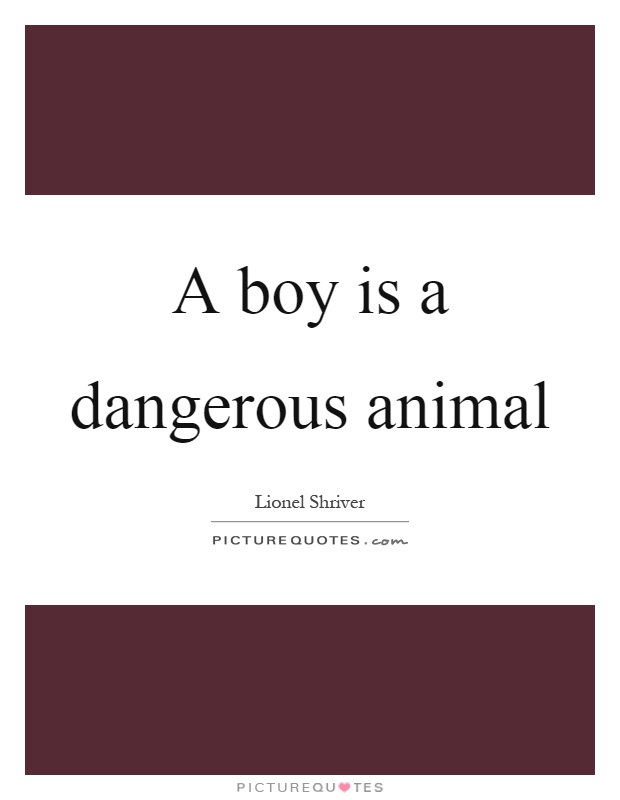 A boy is a dangerous animal Picture Quote #1