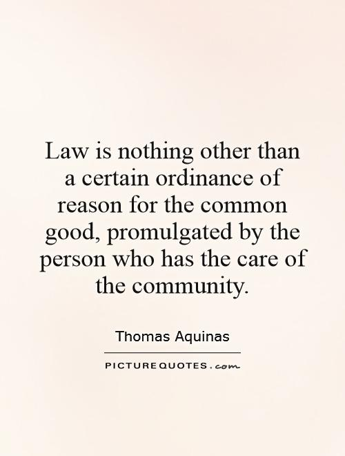 Law is nothing other than a certain ordinance of reason for the common good, promulgated by the person who has the care of the community Picture Quote #1