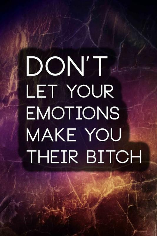 Don't let your emotions make you their bitch Picture Quote #1
