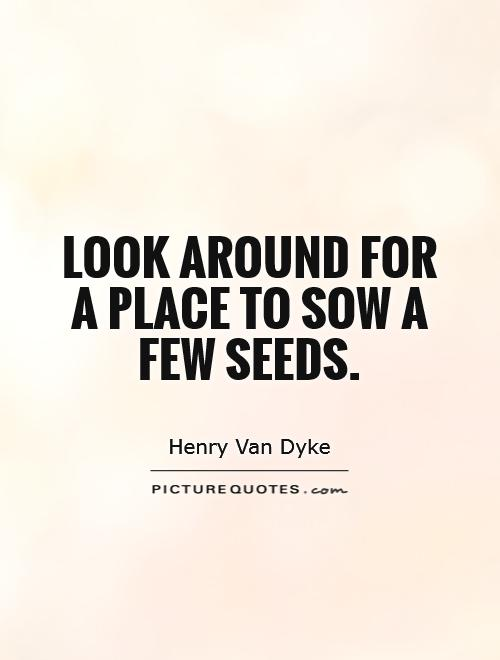 Look around for a place to sow a few seeds Picture Quote #1