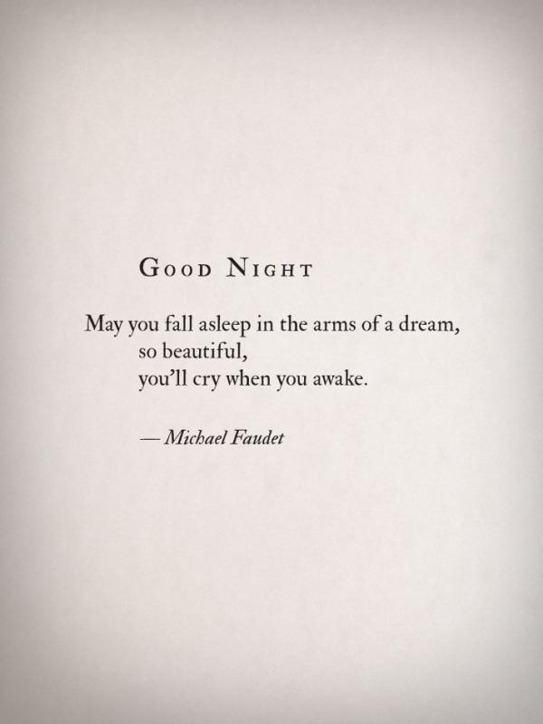 Good night. May you fall asleep in the arms of a dream, so beautiful, you'll cry when you awake Picture Quote #1
