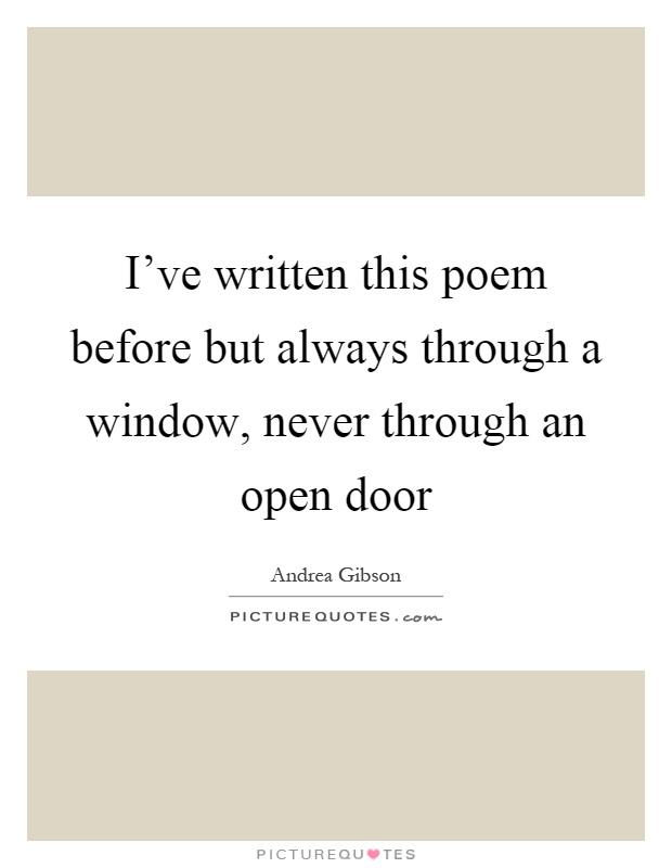when was the open window written