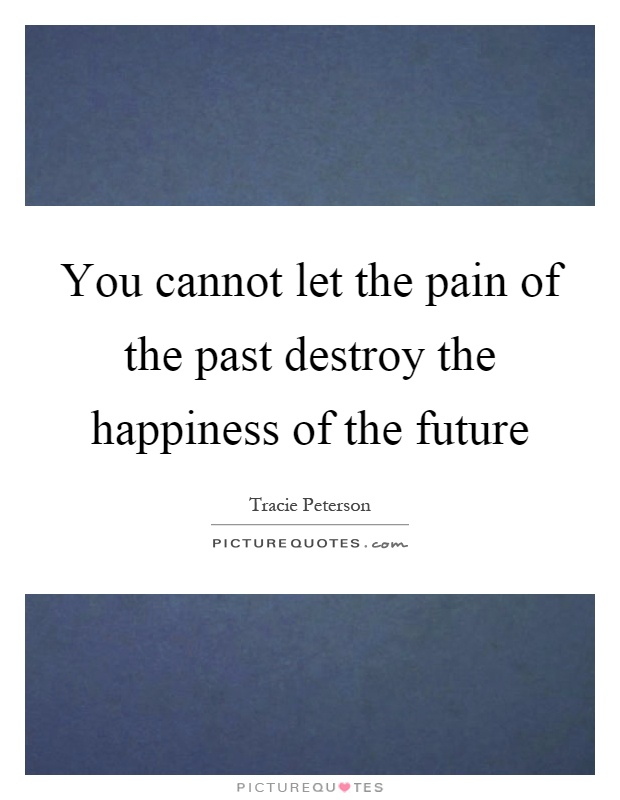 You cannot let the pain of the past destroy the happiness of the future Picture Quote #1