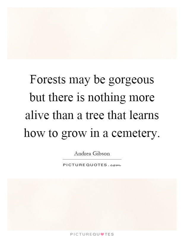 Forests may be gorgeous but there is nothing more alive than a tree that learns how to grow in a cemetery Picture Quote #1