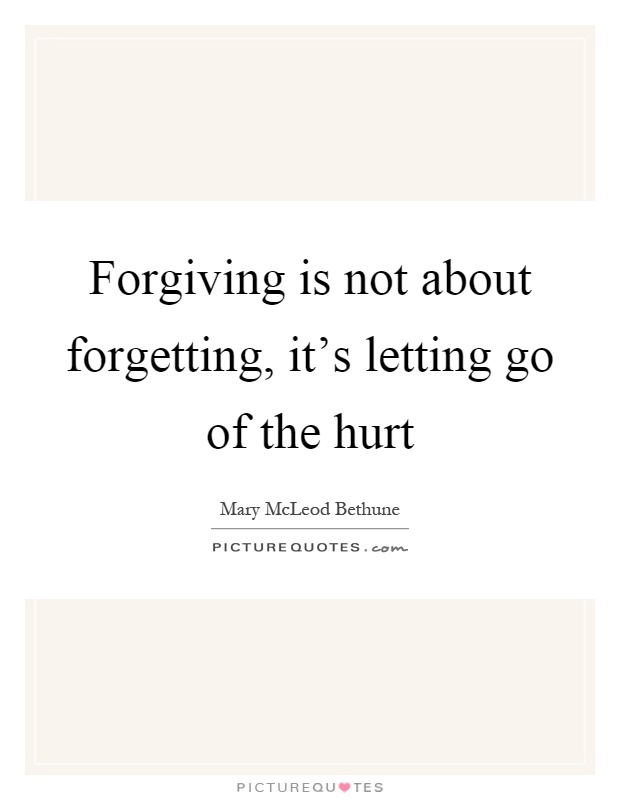 Forgiving is not about forgetting, it's letting go of the hurt Picture Quote #1