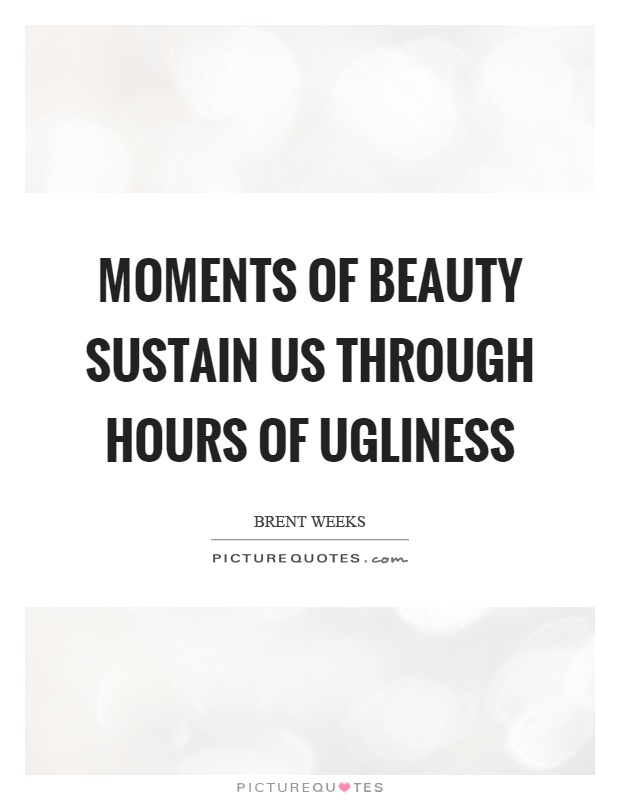 Moments of beauty sustain us through hours of ugliness Picture Quote #1