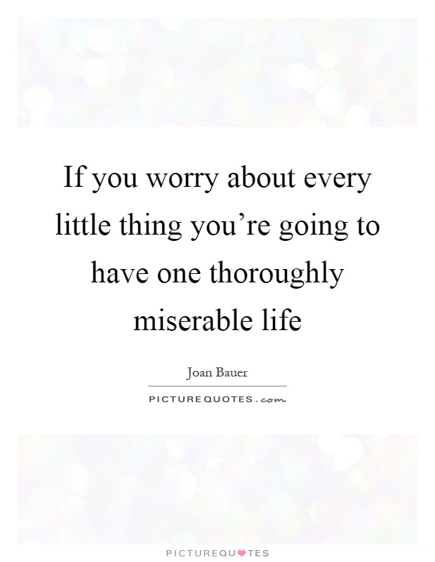 If you worry about every little thing you're going to have one thoroughly miserable life Picture Quote #1