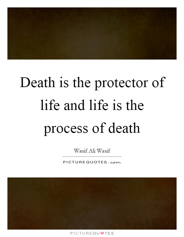 Death is the protector of life and life is the process of death Picture Quote #1