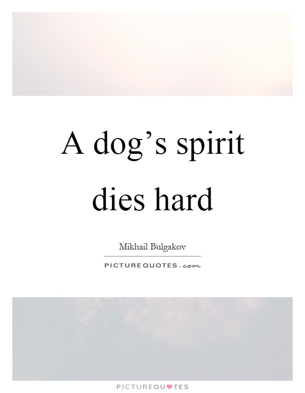 A dog's spirit dies hard Picture Quote #1