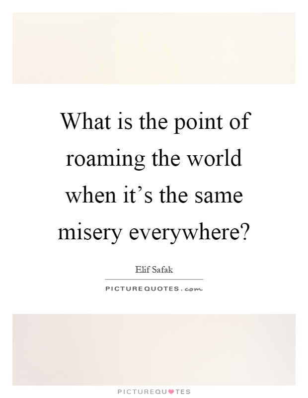 What is the point of roaming the world when it's the same misery everywhere? Picture Quote #1