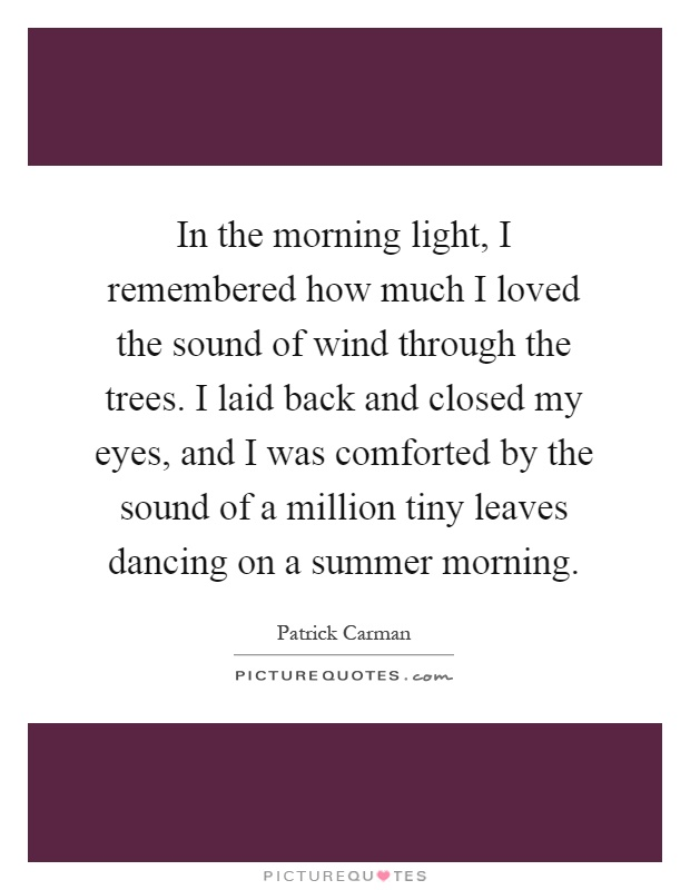 In the morning light, I remembered how much I loved the sound of wind through the trees. I laid back and closed my eyes, and I was comforted by the sound of a million tiny leaves dancing on a summer morning Picture Quote #1