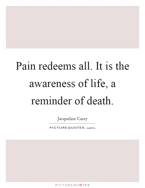 Pain redeems all. It is the awareness of life, a reminder of death Picture Quote #1