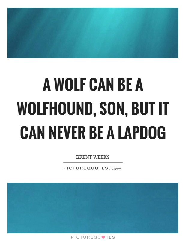 A wolf can be a wolfhound, son, but it can never be a lapdog Picture Quote #1