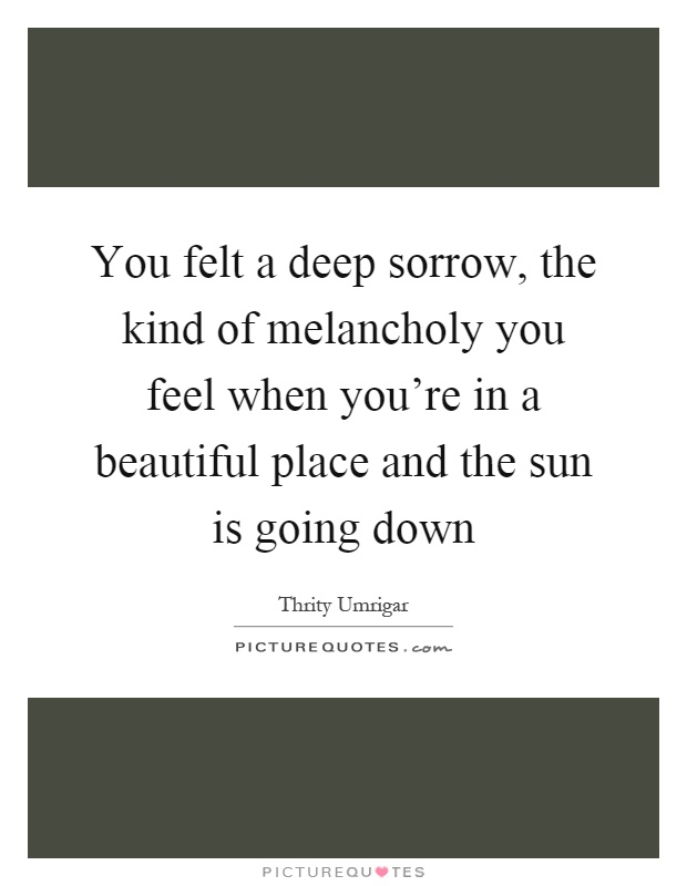 You felt a deep sorrow, the kind of melancholy you feel when you're in a beautiful place and the sun is going down Picture Quote #1
