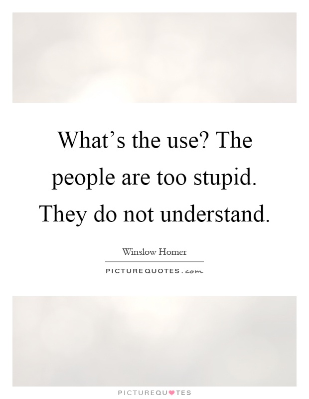 What's the use? The people are too stupid. They do not understand Picture Quote #1