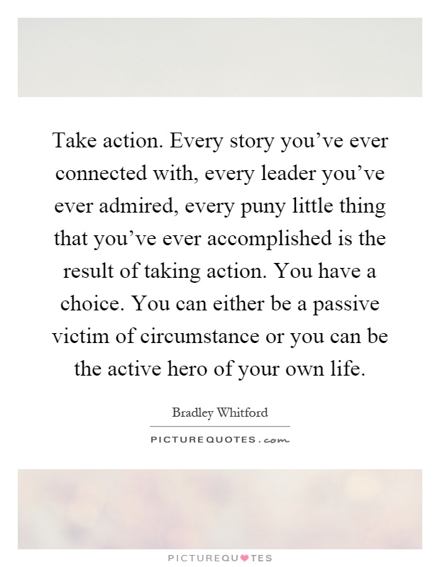 Take action. Every story you've ever connected with, every leader you've ever admired, every puny little thing that you've ever accomplished is the result of taking action. You have a choice. You can either be a passive victim of circumstance or you can be the active hero of your own life Picture Quote #1