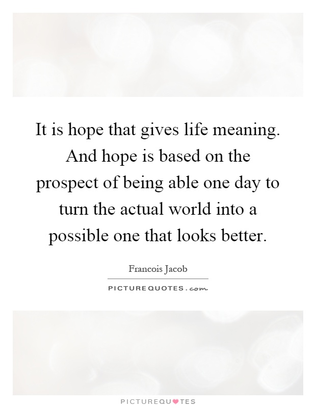 It is hope that gives life meaning. And hope is based on the prospect of being able one day to turn the actual world into a possible one that looks better Picture Quote #1