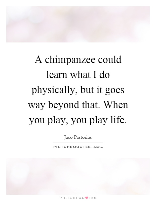 A chimpanzee could learn what I do physically, but it goes way beyond that. When you play, you play life Picture Quote #1
