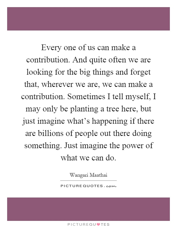 Every one of us can make a contribution. And quite often we are looking for the big things and forget that, wherever we are, we can make a contribution. Sometimes I tell myself, I may only be planting a tree here, but just imagine what's happening if there are billions of people out there doing something. Just imagine the power of what we can do Picture Quote #1