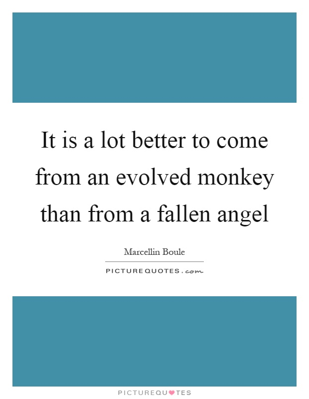 It is a lot better to come from an evolved monkey than from a fallen angel Picture Quote #1