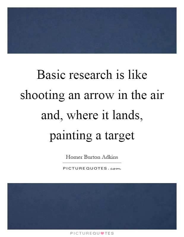 Basic research is like shooting an arrow in the air and, where it lands, painting a target Picture Quote #1
