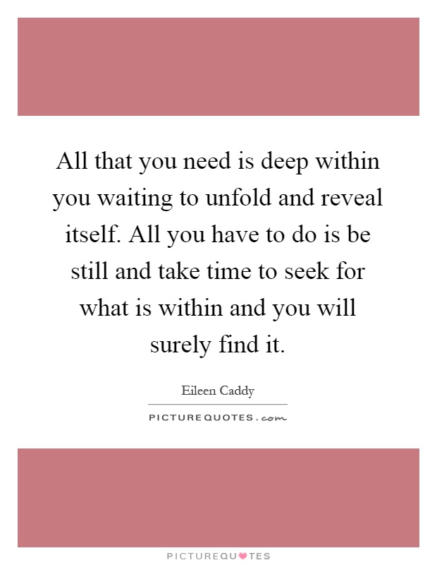 All that you need is deep within you waiting to unfold and reveal itself. All you have to do is be still and take time to seek for what is within and you will surely find it Picture Quote #1