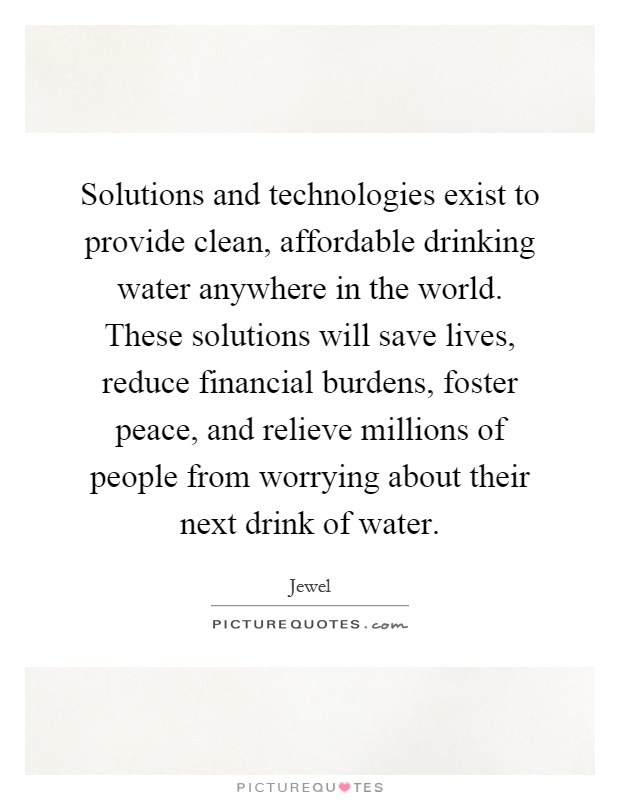 Solutions and technologies exist to provide clean, affordable drinking water anywhere in the world. These solutions will save lives, reduce financial burdens, foster peace, and relieve millions of people from worrying about their next drink of water Picture Quote #1