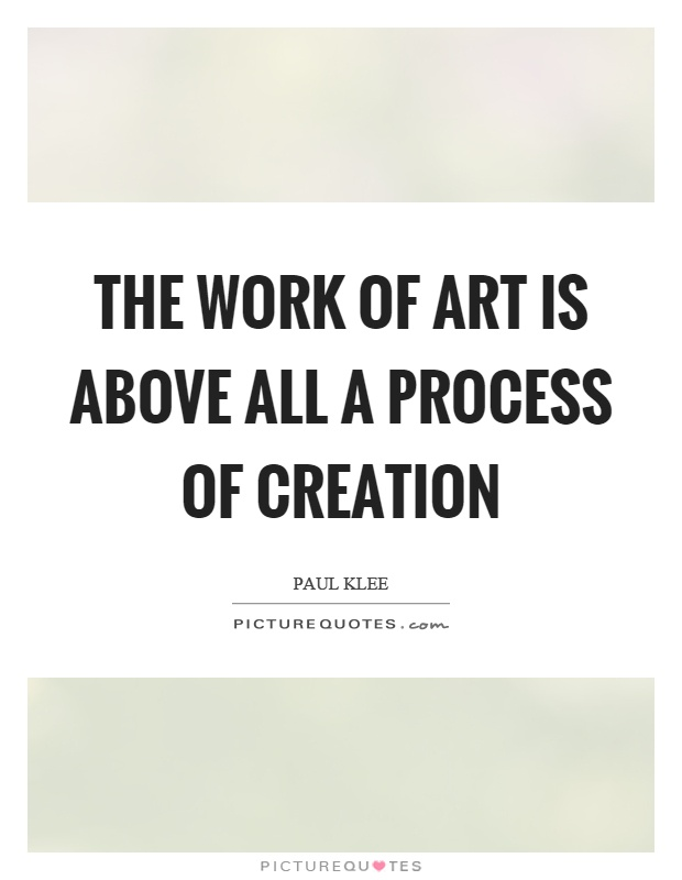 The work of art is above all a process of creation Picture Quote #1