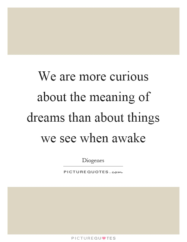 We are more curious about the meaning of dreams than about things we see when awake Picture Quote #1