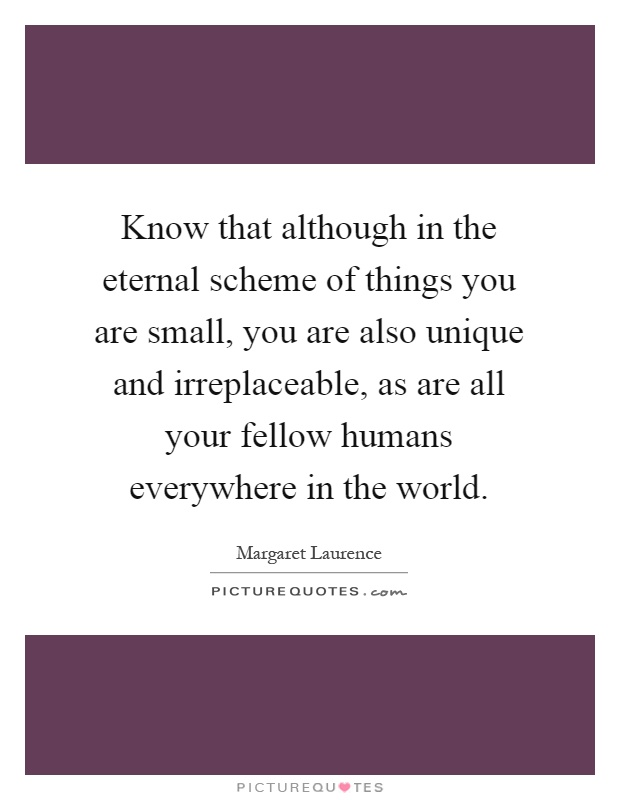 Know that although in the eternal scheme of things you are small, you are also unique and irreplaceable, as are all your fellow humans everywhere in the world Picture Quote #1