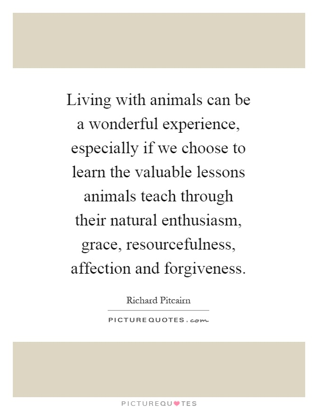 Living with animals can be a wonderful experience, especially if we choose to learn the valuable lessons animals teach through their natural enthusiasm, grace, resourcefulness, affection and forgiveness Picture Quote #1