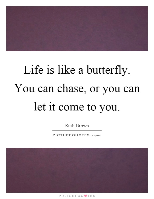 Life is like a butterfly. You can chase, or you can let it come to you Picture Quote #1