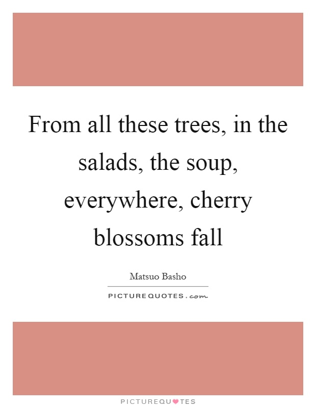 From all these trees, in the salads, the soup, everywhere, cherry blossoms fall Picture Quote #1