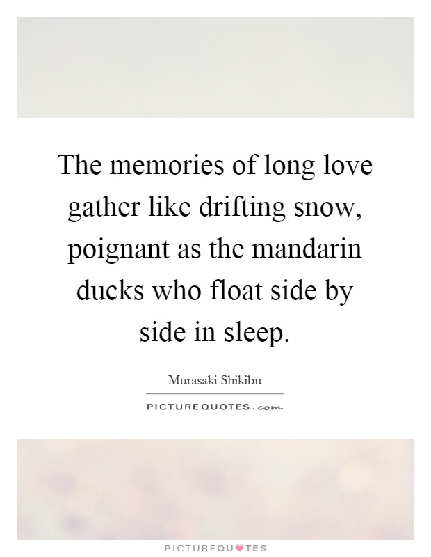 The memories of long love gather like drifting snow, poignant as the mandarin ducks who float side by side in sleep Picture Quote #1