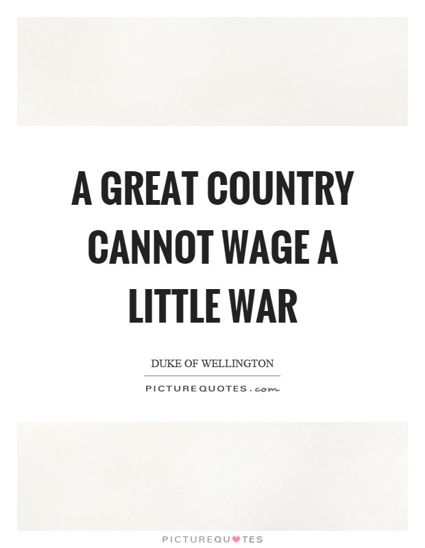 A great country cannot wage a little war Picture Quote #1