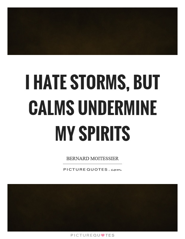 I hate storms, but calms undermine my spirits Picture Quote #1