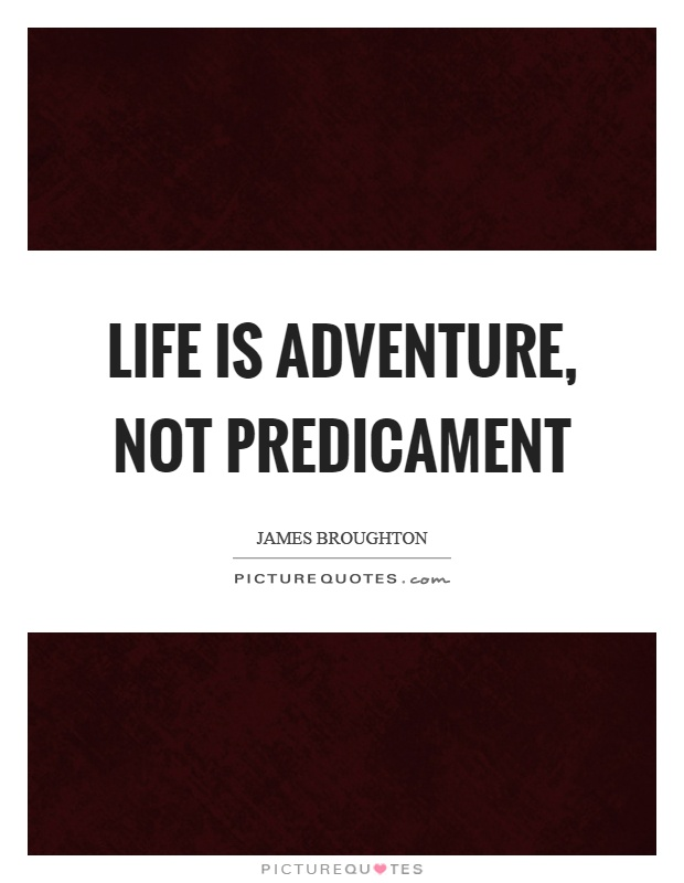Life is adventure, not predicament Picture Quote #1