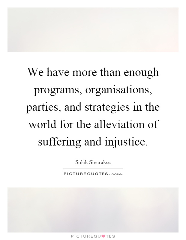 We have more than enough programs, organisations, parties, and strategies in the world for the alleviation of suffering and injustice Picture Quote #1