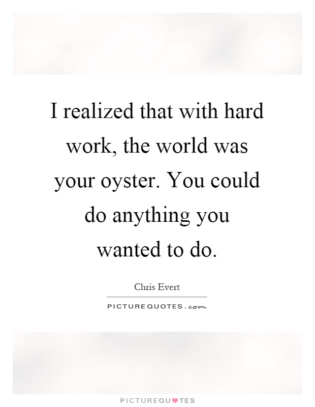 I realized that with hard work, the world was your oyster. You could do anything you wanted to do Picture Quote #1