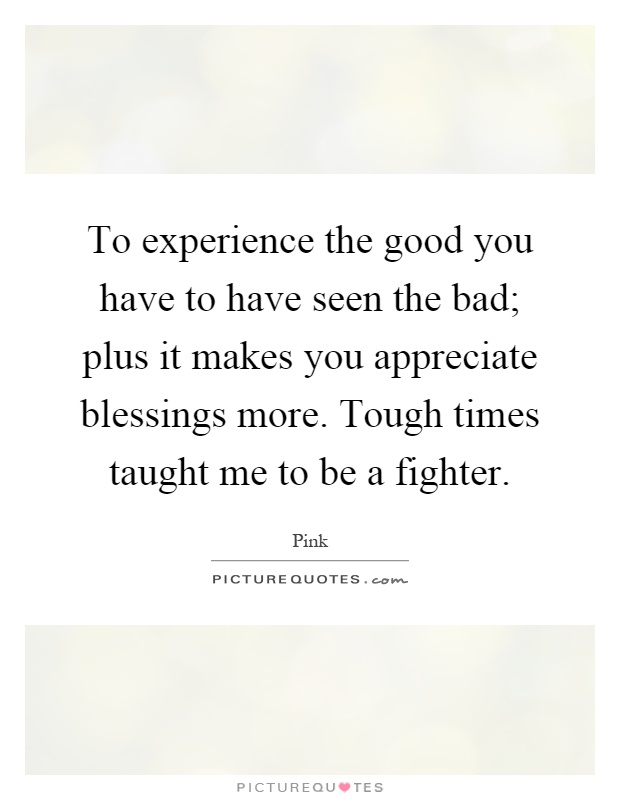 To experience the good you have to have seen the bad; plus it makes you appreciate blessings more. Tough times taught me to be a fighter Picture Quote #1