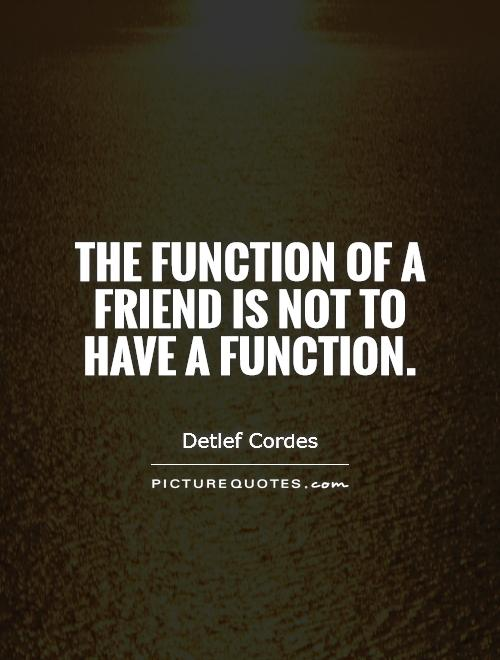 The function of a friend is not to have a function Picture Quote #1